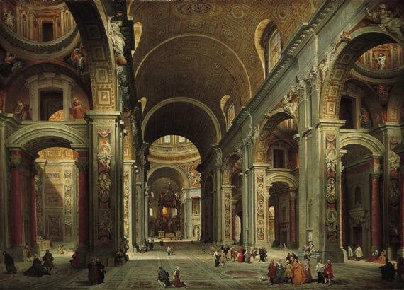 Рим, базиліка св. Петра (Паніні, Інтер'єр собору, 1750).